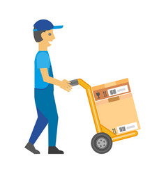 man in overalls and cap pushes cart with box vector image