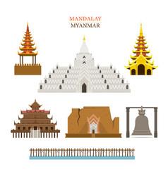 Mandalay myanmar architecture building landmarks vector