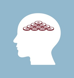 money coin stack in human head vector image