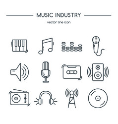 music industry icons line set vector image
