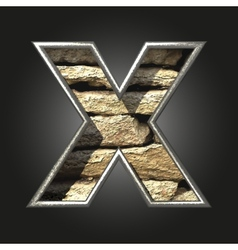 Old stone letter x vector