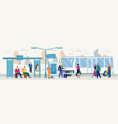 Passengers on city bus stop platform flat vector