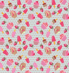 Pattern with hand-drawn ice-creams and cup-cakes vector