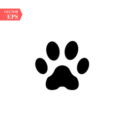 paw prints logo isolated black on white vector image