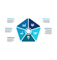 pentagon infographic with 5 options vector image