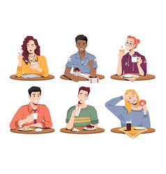 People eating desserts ice-cream and fresh bakery vector