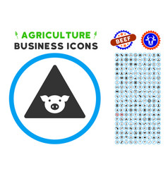 Pig error rounded icon with set vector