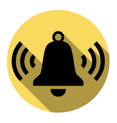Ringing bell icon flat black icon with vector