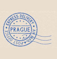 round blue postmark prague czech republic on vector image