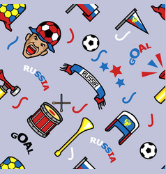 russia soccer supporter gear seamless pattern vector image