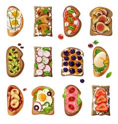 Sandwiches cartoon set vector