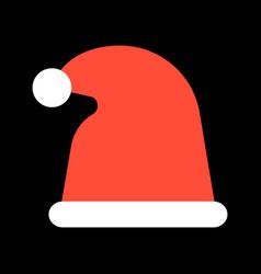 Santa hat merry christmas icon set flat design vector
