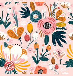 Seamless pattern with flowers berries and leaves vector