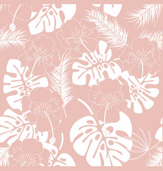 Seamless tropical pattern with white monstera vector