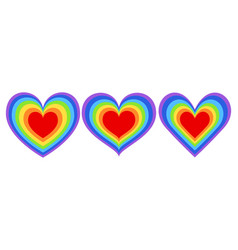 set different shapes rainbow heart vector image