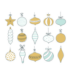set of christmas tree toys vector image