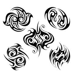 Set of various ethnic style tattoo shapes vector image
