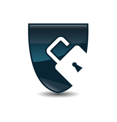 shield security icon shield and padlock vector image