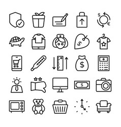 shopping and e commerce icons 1 vector image