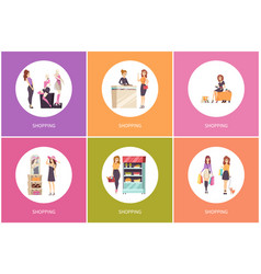 Shopping food buying and clothes trying vector