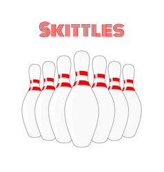 Skittles cartoon sport equipment concept vector