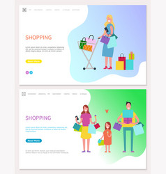 smiling people making holiday purchases vector image