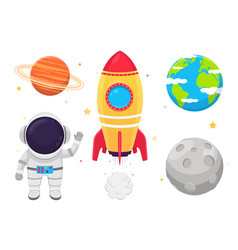 Space set astronaut in suit rockets and planets vector