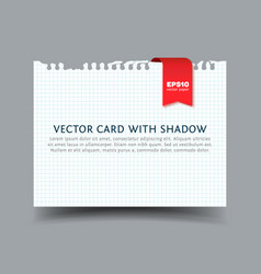 Squared paper card with shadow vector