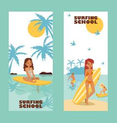 surfing school advertising banner vector image