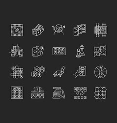 Table games chalk white icons set on black vector