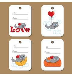 Tags with cats and hearts vector