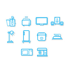 Thin line home appliances icon set vector