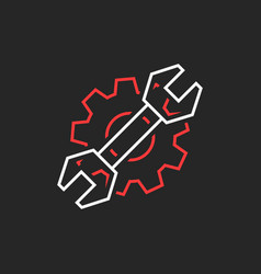 Thin line wrench and gear like repair service logo vector