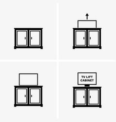 Tv lift cabinet vector