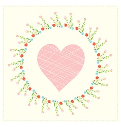Valentine card with heart and floral frame vector