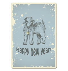 Vintage new year card with sheep vector