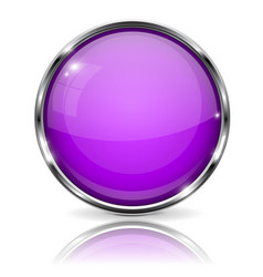 Violet button with chrome frame round glass shiny vector