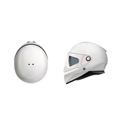 white motorbike classic helmet front back and vector image