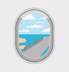 Window airplane travel view vector