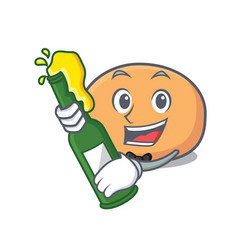 With beer mochi mascot cartoon style vector