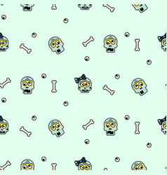 Zombie head cartoon cute couple seamless pattern vector