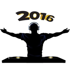 DJ and record decks party 2016 vector image vector image