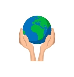 Hands holding globe cartoon icon vector image vector image