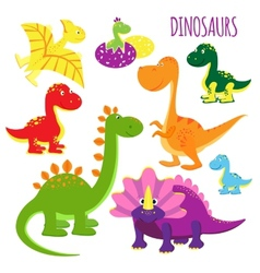 icons of baby dinosaurs vector image