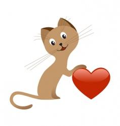 valentines day kitten vector image vector image