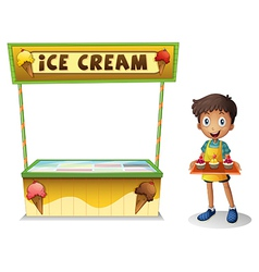 A boy selling ice cream for summer vector image