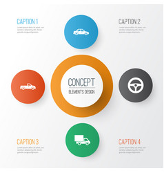 automobile icons set collection of automobile vector image vector image