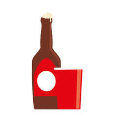 color silhouette with beer bottle and disposable vector image vector image