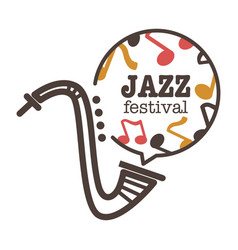 jazz festival promotional banner with saxophone vector image vector image