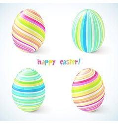 Blue and pink striped easter eggs set vector image vector image